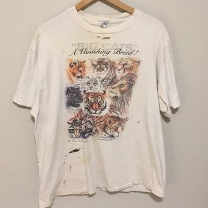 Vintage Big cats a vanishing breed 90s t shirt